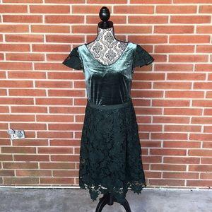 Isaac Mizrahi Live! Green Velvet Lace Midi Dress